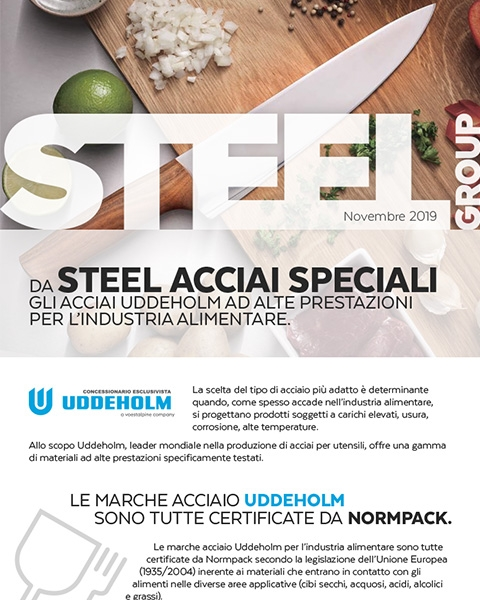 Steel Group - Copertina newsletter Acciai alimentari Uddeholm
